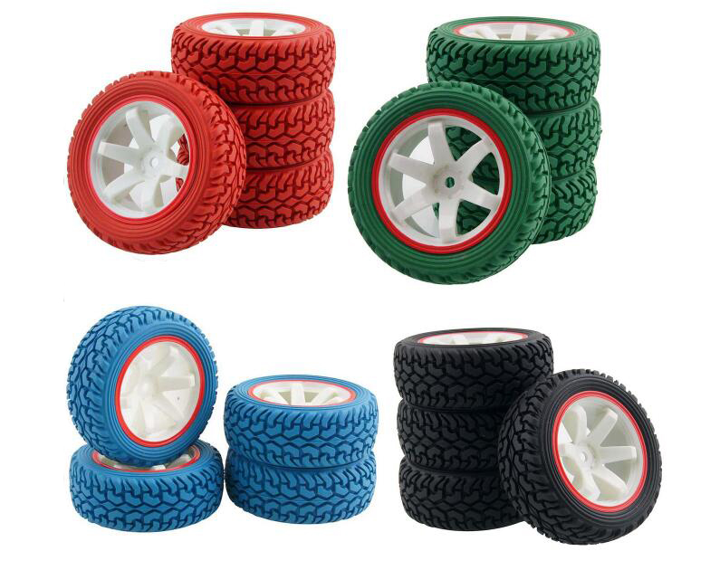 4pcs 1/16 Rally Tire Off-road tires Buggy Tyre 1/10 on road car pull rally Wheels for RC Toy car HSP 94123 702A-8019 75mm 02023 clutch bell double gears 19t 24t for rc hsp 1 10th 4wd on road off road car truck silver