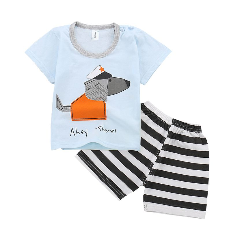 HIMEALAVO Selling Baby Boys Summer Clothing Set Stripe Cute Cartoon Cotton Baby Boys Clothes Set T Shirt Pant 2PCS Baby Suits