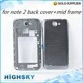 100% new substituição de habitação para Samsung Galaxy Note N7100 2 tampa traseira porta da bateria + painel do meio 1 peça frete grátis