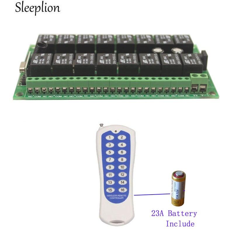 Sleeplion 12V 16CH Wireless Remote Control Switch Relay 16 Channel Relay Module 12V 433MHz 315MHz Remote