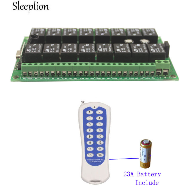 цена Sleeplion 12V 16CH Wireless Remote Control Switch Relay 16 Channel Relay Module 12V 433MHz/315MHz Remote Control Module