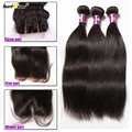 unproceseed 7A mongolian straight virgin hair weft with closure cheap good quality 3 Bundles hair extensions With closure sale