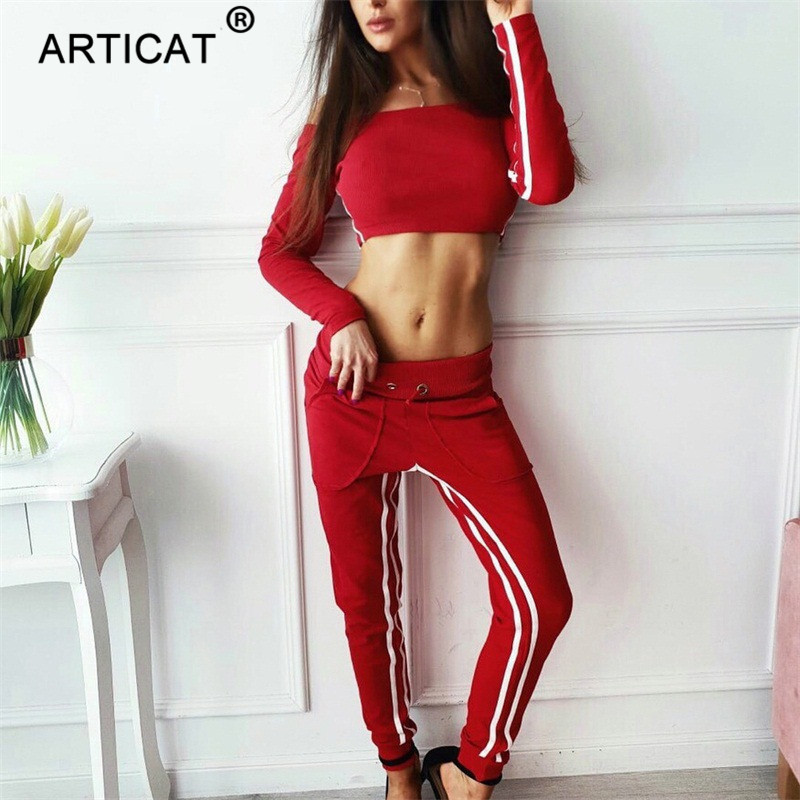 Articat Off Shoulder Sexy Crop Top Women Tracksuit Two Piece Side Stripe Short Autumn Tops Long Pants Casual Fitness Sportswear 3