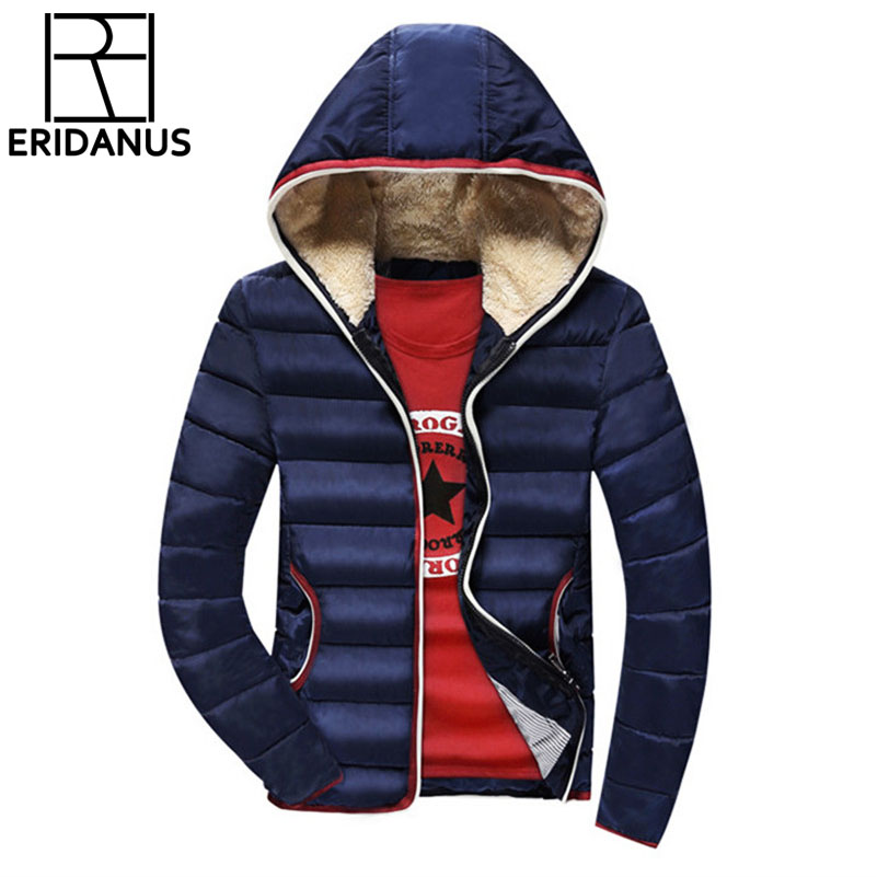 4XL Men Winter Casual New Hooded Thick Padded Jacket 2017 Fashion Solid Color Slim Soft Zipper Male Parka Coat Jacket M577