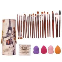 20Pcs Makeup Brushes Set With Brush Barrel Holder 7Pcs Sponge Puff Air Puffs 4Pcs Foundation Puffs