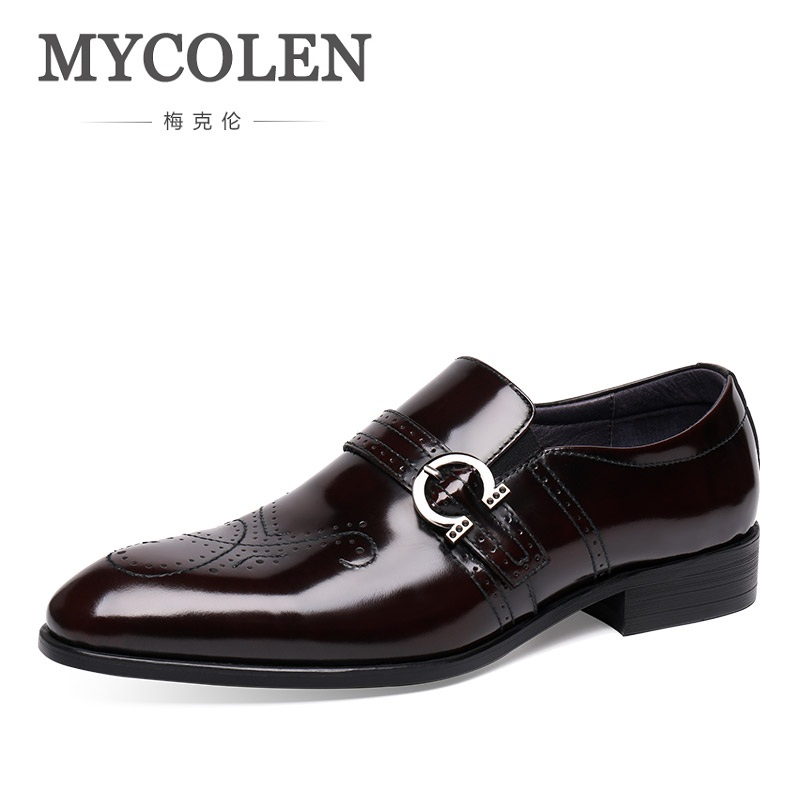 MYCOLEN High Quality Hand Carved Bullock Genuine Leather Men Formal Shoes Party Pointed Toe Dressy Weddings Men Dress Shoes asus m4a78 vm desktop motherboard 780g socket am2 ddr2 sata2 usb2 0 uatx second hand high quality