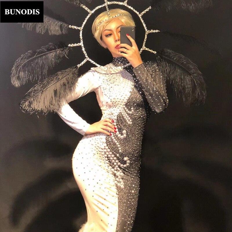 Perles Femmes Danseur Longue Jupe Cristaux Et Chanteur Show Mousseux Noir Porter Blanc Stage Zd328 Plume Time Nightclub Sexy v7pwdqd