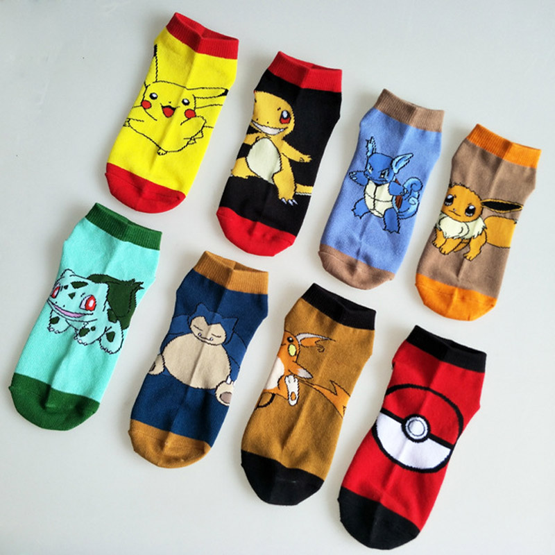 Cotton Socks Pokemon Go Ankle Socks Pikachu Cartoon Pattern Antiskid Casual Socks Pocket Monster Cosplay Costume Socks Props in Boys Costume Accessories from Novelty Special Use