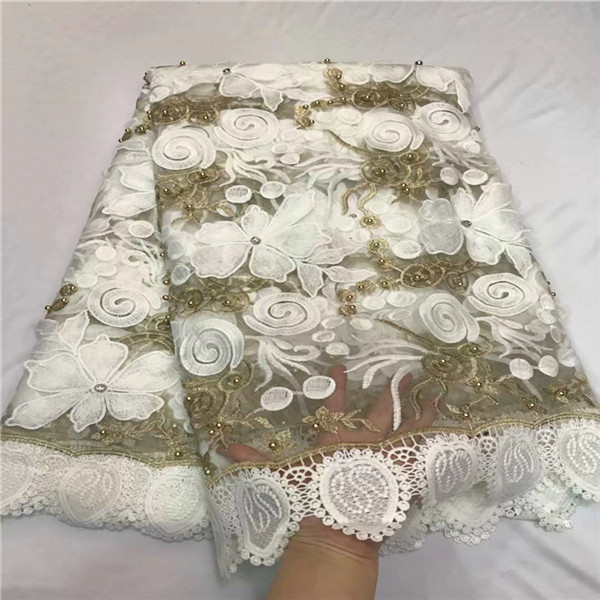 2018 New Designs African French Lace Fabric WHITE Embroidered Nigeria French Tulle Lace Fabrics With Beads