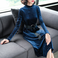 Hot Sale Europe 2018 Winter Autumn Women S Temperament Belt Long Velvet Turtleneck Dress Female Casual