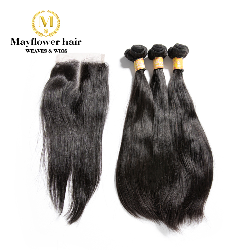 MFH Funmi Straight Hair 2/3/4 Bundles With 4x4 Closure Natural Black Double Drawn Remy Hair 8-20