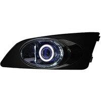 DRL COB Ангел глаз + halo туман лампы + E13 объектив проектора + черный туман крышка лампы + покрытие отделка для Chevrolet Sonic aveo, 2 шт.