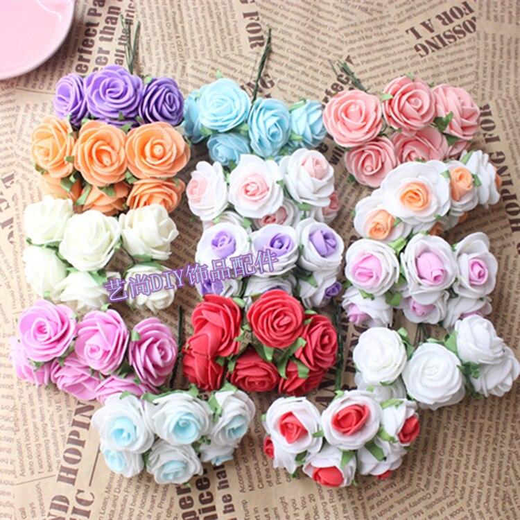 3CM Artificial Floral Foam PE Mini Roses Bud Bouquet,Wire Stem,Flower Garland,Wreath For hair,scrapbooking,Wedding Decorations
