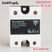 RM1A40D100 100A DC AC Solid State Relay Output:42 440VAC Input:5V 12V 24V DC SSR Relay PLC Motor Soft Starter Relay Switch Board