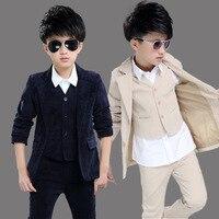 Big Boys Blazer Suits for Weddings Children Jacket+Vest+Pants 3PCS Set Costume for Marriage Kids Formal party Blazer Clothes