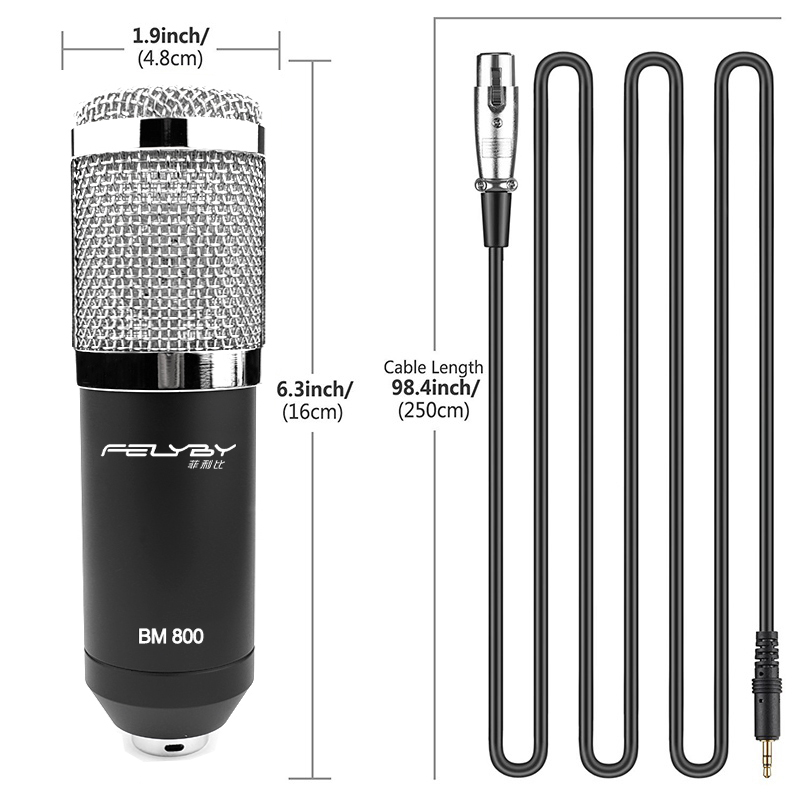FELYBY Multi-functional live sound card and metal shock mount webcast essential professional bm800 microphone felyby multi function live sound card professional condenser microphone bm800 for computer karaoke network podcast microphone
