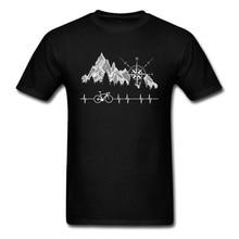 цена на Cycle Life Heartbeat Biker Men Tshirt Mountain Forest Hiking Printed Tops & Tees Compass Bike Casual Funny T-shirts 100% Cotton