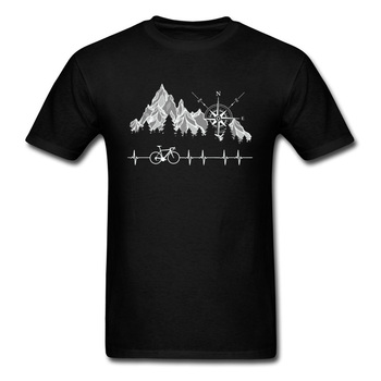 Cycle Life Heartbeat Biker Men Tshirt Mountain Forest Hiking Printed Tops & Tees Compass Bike Casual Funny T-shirts 100% Cotton