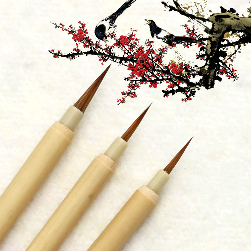 Chinese Natural Bamboo Calligraphy Pen Brush Landscape Watercolor Outline Pen Brush Regular Script Writing Bursh 3pcs