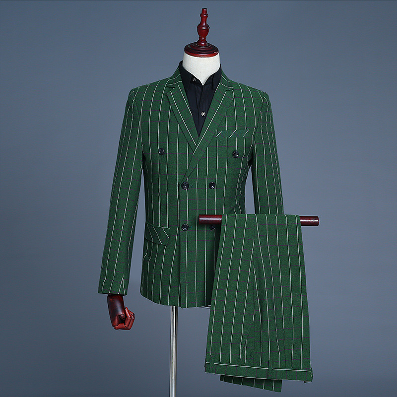2019 New Men's Green Casual Plaid Groom Double Breasted PerforMence Suit 3 Piece Suits Men Coat Pant Vest Green Grey Men Clothes