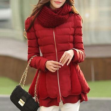 coat winter Thick down jacket cotton padded jacket women wind breaker jacket Flouncing winter coat Women