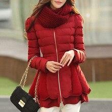 Пальто зимнее Толстый пуховик хлопка ватник женщин ветровка куртка Flouncing зимнее пальто Женщин