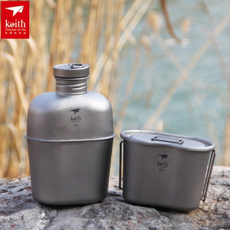 Caja de almuerzo de titanio del ejército botella de agua del ejército juego de comedor de la cantimplora 268g 1.7L + 0.7L w/bolsa de camuflaje Ti3060 Drop Shipping