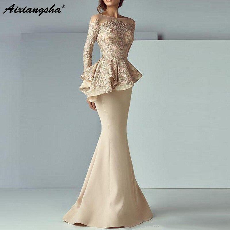 Champagner Meerjungfrau Abendkleider Lange Abendkleid Mit Langen Ärmeln Spitze Schößchen abiye Robe De Soiree Elegante Formale Kleid