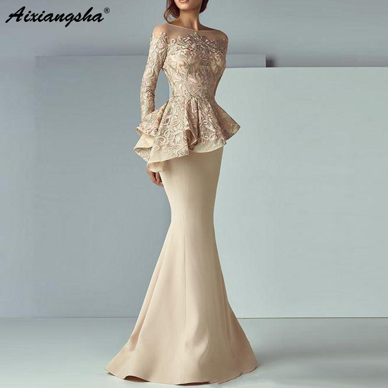 Vestidos de Noite Vestido de Noite Robe de Soiree Champagne Sereia Longo Mangas Compridas Rendas Peplum Abiye Elegante Vestido Formal 2020