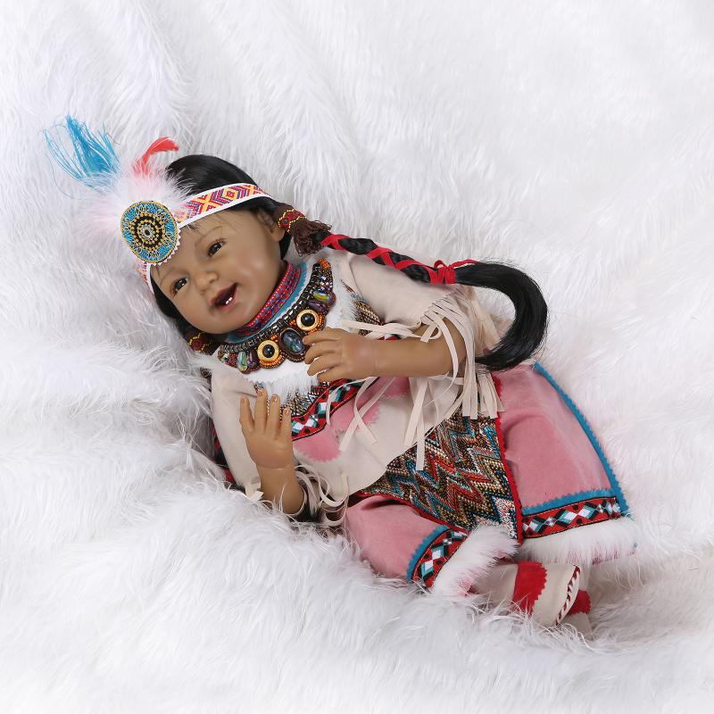 22 53cm Silicone Newborn Baby Native American Indian Reborn Baby Doll Boneca Toys for Girls Kids Christmas Gifts Juguetes