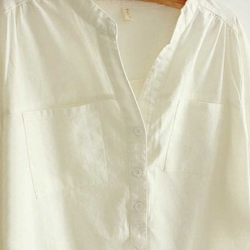 19655251628 ... Camisas Femininas White Shirt Women Tops And Blouses 2017 New Fashion  Tops Pleated Linen Cotton Long ...