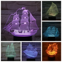 Sailboat LED Night Light Decoration 3D Illusion Childrens Kids Baby Nightlight Gifts Ancient Ship Table Lamp Bedroom Retro Boat