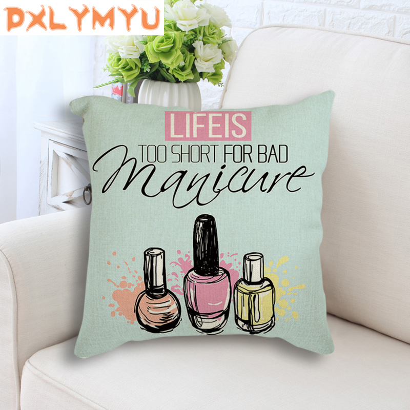 Modern Linen Cushion Nail Polish Quotes Nordic Posters Pop Art Print Cushion Decorative Throw Pillow Cushion Pillowcase 45x45cm