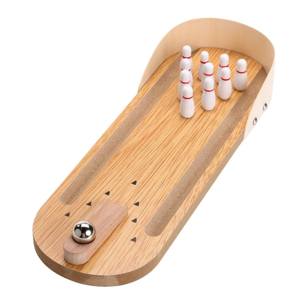 Holz Mini Desktop Bowling Spiel Spielzeug Set Spaß Indoor Eltern-kind-Interaktive Tabelle Spiel Bowling Entwicklungs Spielzeug