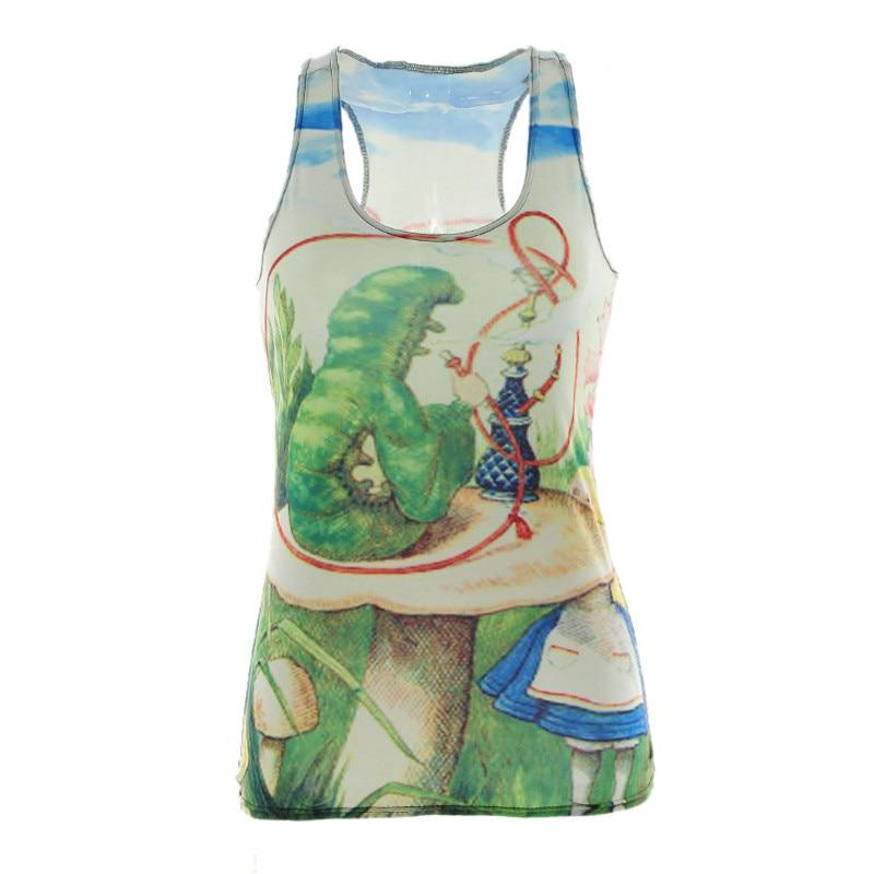 100% QualitäT Tropfenschiffs Summer Styles Fashion Sexy Frauen Tank Alice Im Wunderland Digitaldruck Rundhals Sleeveless Behälter-unterhemd