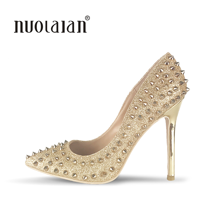 Top Quality Gold  Color Women Pumps Pointed Toe Thin High Heels 2017 New Fashion Luxury Rivets Shoes Wedding Bridal Women ShoesTop Quality Gold  Color Women Pumps Pointed Toe Thin High Heels 2017 New Fashion Luxury Rivets Shoes Wedding Bridal Women Shoes