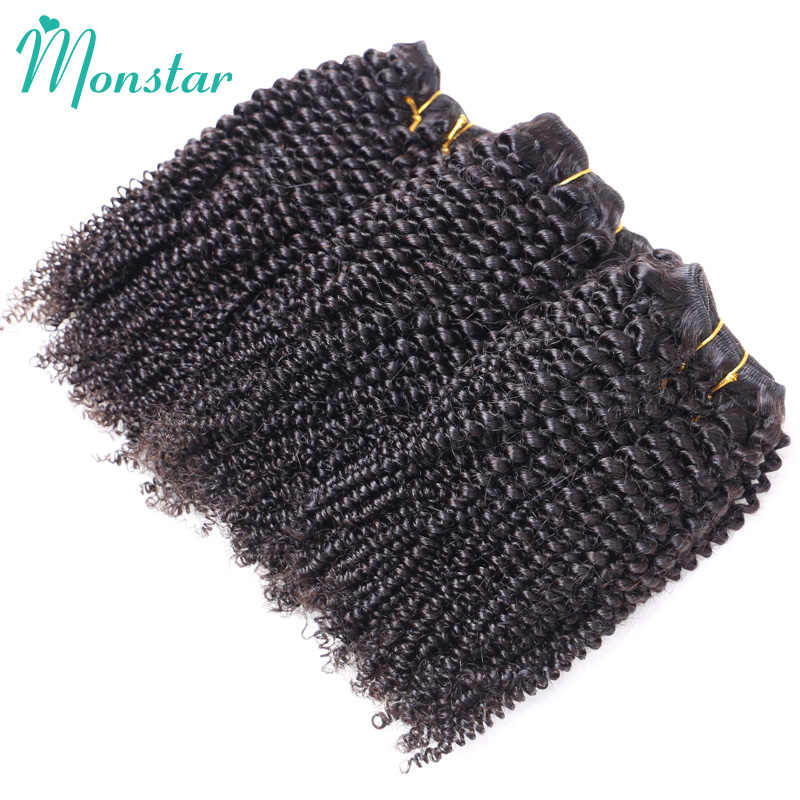 Monstar Cabelo 1/3/4 Brasileiro Pacote Tecer Cabelo Humano Remy Brasileiro Afro Kinky Curly Hair Extension 10 -26 Polegada Cor Natural