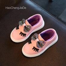 2018 Baru Sepatu Anak-anak Perempuan Sneakers Lucu Busur Busana Putri Gadis Sepatu Anak-anak Lembut Slip-On Sepatu Kasual Tunggal Ukuran 21-36