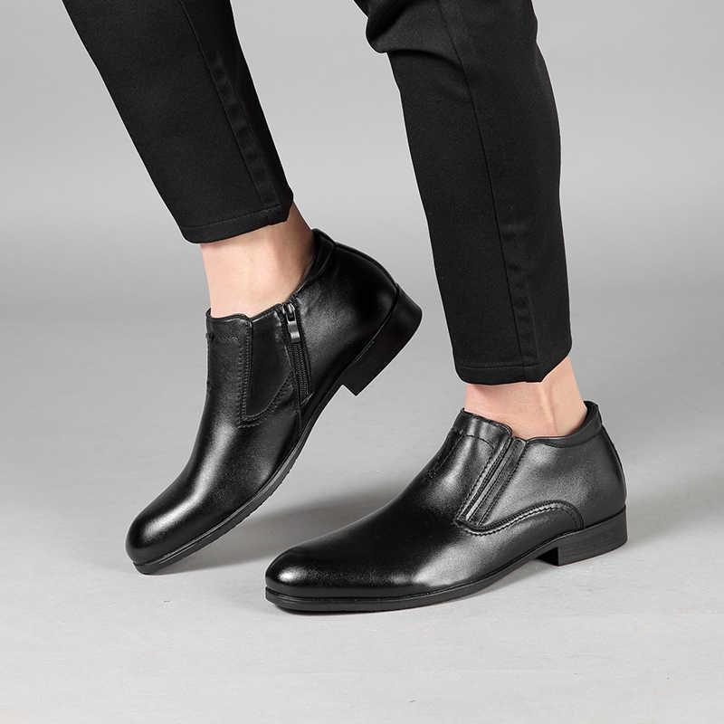 Jackmiller herfst mannen laarzen kunstmatige leather slip-on enkel jurk laarzen side rits goring vlakte eenvoudige mannen schoenen kleur zwart