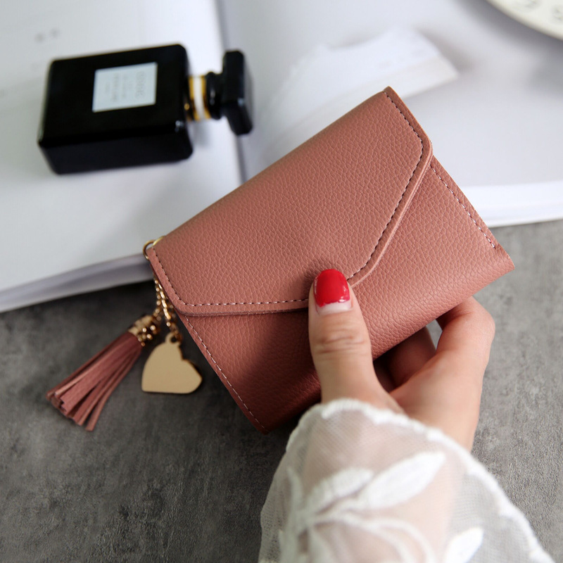 Brand Designer Small Wallets Women Coin Purses Tassel Leather Clutch Phone Wallets Female Money Bags Credit Card Holders 2018 baellerry brand pu leather wallets men purses slim new designer solid vintage small wallets male money bags credit card holders