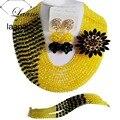 Бренд Laanc Нигерийские Свадебные Бусы Кристалл Желтый и Черный Индийский Свадебные Украшения Африканских Ожерелье и Серьги Набор AL209