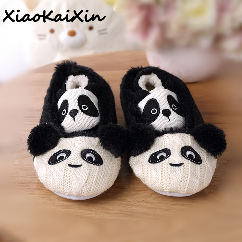 Cute Animal Prints Home Slippers Mom and child Panda Style Winter Warm Knitted Cotton Plush Indoor Rubber Non-slip House Shoes plush flat indoor cartoon flock adult furry slippers fluffy winter fur animal shoes rihanna house home women adult slipper anime