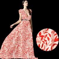 135 CM di Larghezza 12 MM Arancione Stampa Floreale Bianco Seta Crepe de Chine Tessuto per L'estate Camicetta Abiti Camicia di Vestito D796