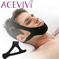 ACEVIVI Nylon Black Anti Snore Chin Strap Sleep Care Stop Snoring Strap Chin Support Strap Adjustable For Men and Women U2
