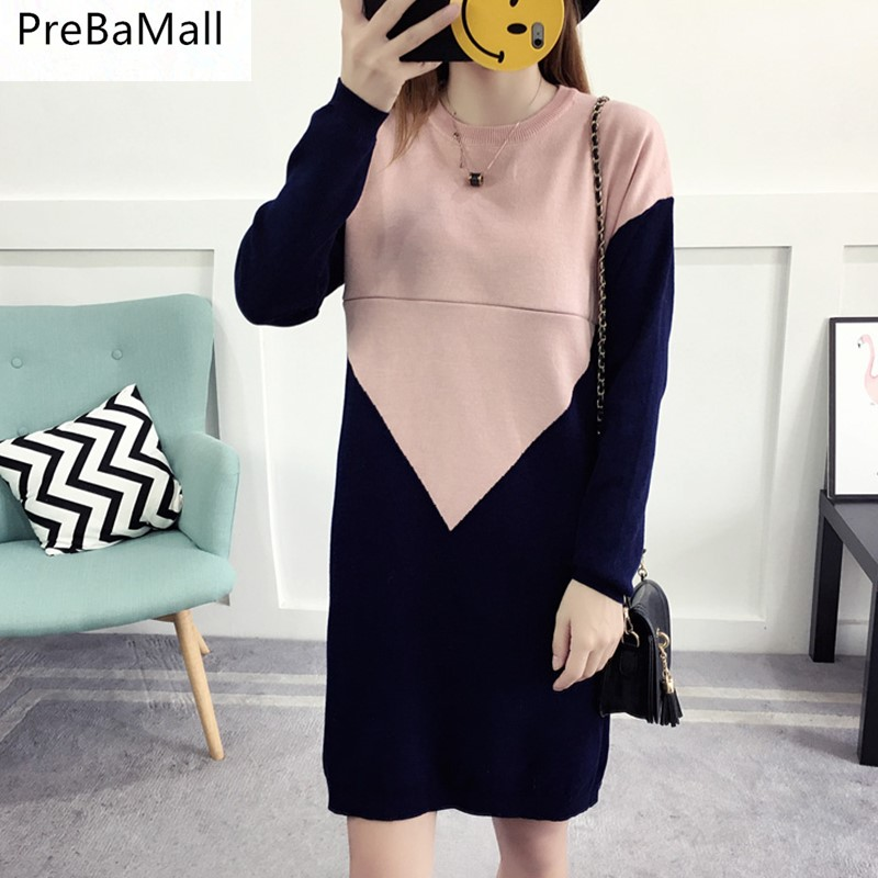 PreBaMall Sweater Maternity Nursing Dresses Keep Warm Breastfeeding Dress Clothing for pregnant women Pregancy Clothes B0494 winter maternity sweater geometric patterns knit cardigan sweater coat warm clothes for pregnant women maternity clothing size l