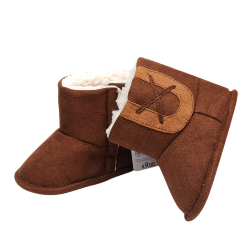 Autumn Winter Lovely Baby Boys Warm Patchwork Fleece Suede Leather Fringed Infant Toddler Soft Bottom Thick Shoes M1