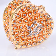 Gold Heart Shaped Alloy Jewelry Box for Women Metal Jewellery Box with Rhinestone Wedding Gift for Bride Bridesmaid Accessories