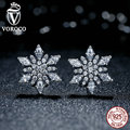 VOROCO  Original 925 Sterling Silver Crystalized Snowflake Clear Crystals Stud Earrings for Women Jewelry PS430