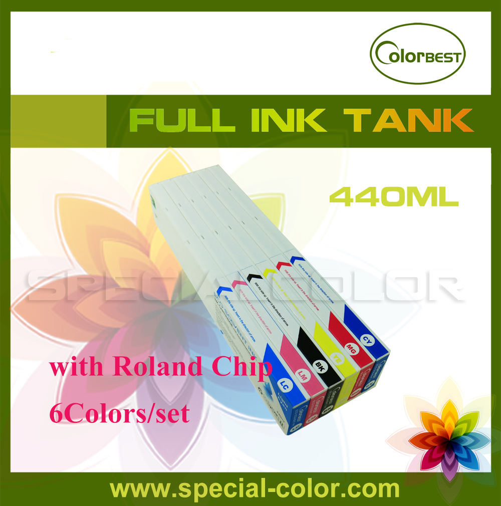 6Colors/set Roland Printer Eco-sol Ink Cartridge with Chip 440ml 4 colors set cmyk roland dx4 solvent printer full ink cartridge with chip