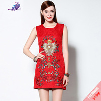 2017 High Quality Summer Runway Dresses Women S Cute Red Floral Beading Embroidery Printed Sleeveless Tank